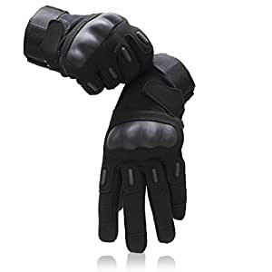 OMGAI Men's Full Finger Military Tactical Gloves for Airsoft Army Paintball Motorcycle Outdoor Sports Black, M