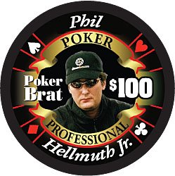 Phil Hellmuth Poker Professional $100 Full Ceramic Poker Chip - Hot Collector's Item!! Professional Full Clay Casino