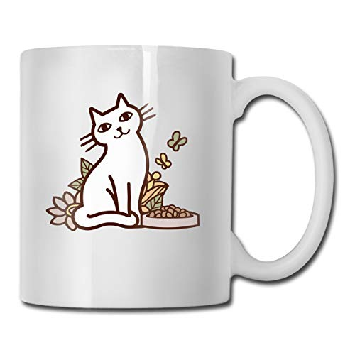 Riokk Az White Cat and Foods Flowers 11oz Coffee Mugs Funny Cup Tea Cup Birthday Ceramic ()