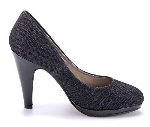 Schuhtempel24 Damen Schuhe Klassische Pumps Trichterabsatz Glitzer 10 cm High Heels Schwarz