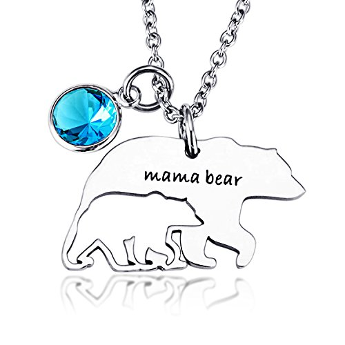 Birthstone Bear (Necklace for Mom Mama Bear Birthstone Charms Pendant Necklaces Mother's Day Birthday Gift Family Jewelry)