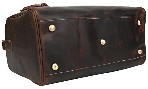 Polare Real Leather Vintage Travel Luggage Duffle Bag /Gym Bag/ Overnight bag by Polare (Image #4)