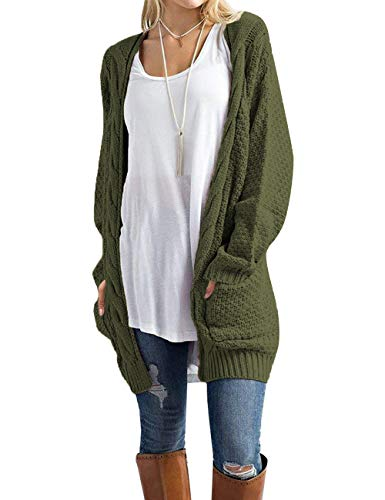 Traleubie Women's Boho Long Sleeve Open Front Chunky Warm Cardigans Pointelle Pullover Sweater Blouses Green L -