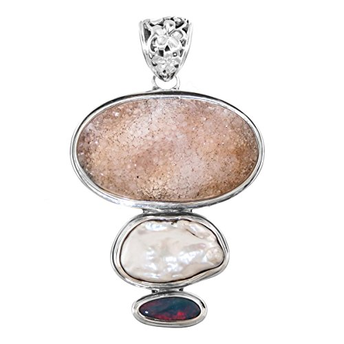 Agate Druzy Freshwater Cultured Pearl Opal Doublet 925 Sterling Silver Pendant, 1 -
