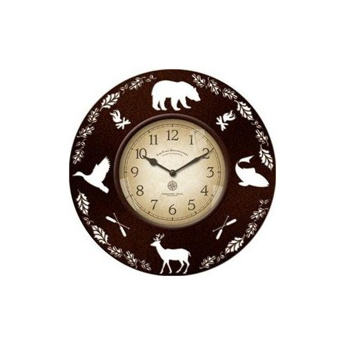 Decorative Rustic Wall Clock with Wildlife Cut Out Silhouettes 13 (Wildlife Cabin)