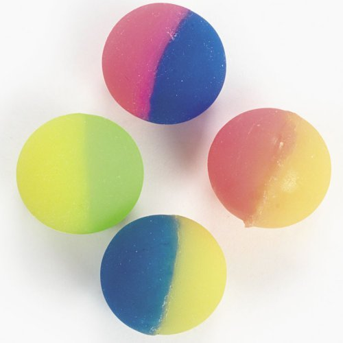 12 Two-tone Icy Super Bouncey Balls -Fun 32mm High Bounce Balls -Great Stocking Stuffers]()