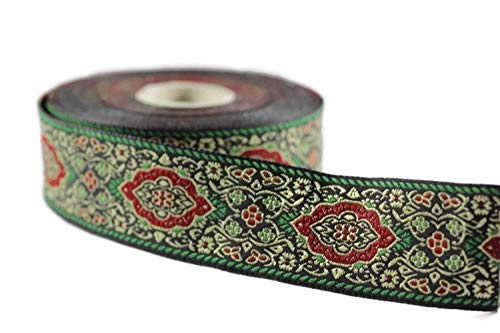 Ribbonlands 35 mm Green Medieval Motive Woven Border (1.37 inches), Jacquard Ribbon, Embroidered Ribbon, Sewing Trim, Scroll Jacquard Trim, Woven Border - 11 Yard/10 m (10 meters/10.93 Yards)