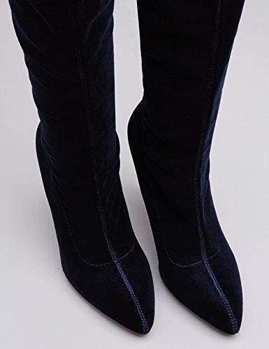 Velluto Alti FIND Donna Stretch Stivali Blu in Navy AwH5H1xq