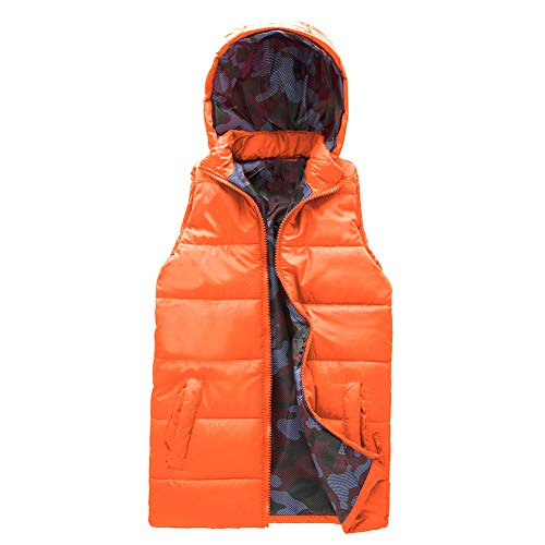 - SNOW DREAMS Boy's Hooded Puffer Vest Full Zip Quilted Sleeveless Jacket Pockets Orange Size 8