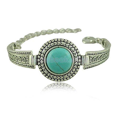 Retro Womens Mens Ancient Silver Turquoise Thai Round Bracelet Chain Bangle by notebook.edge