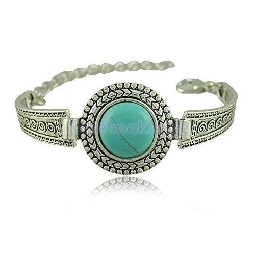 Retro Womens Mens Ancient Silver Turquoise Thai Round Bracelet Chain Bangle
