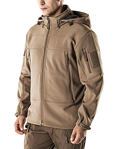 (Farvalue Men's Waterproof Jacket Military Lightweight Warm Fleece Soft Shell Hooded Tactical Outdoor Outwear Coyote X-Large)