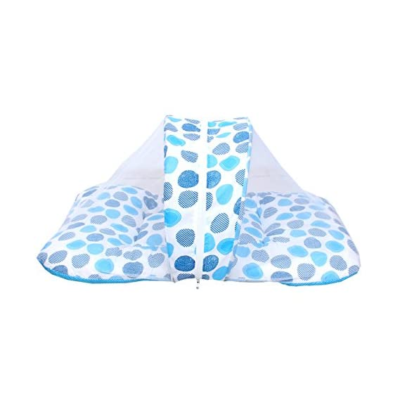 Toddylon Baby Sleep Care Mosquito Net Bed with Cute Pillow(Blue Polka dots)0-6 Months