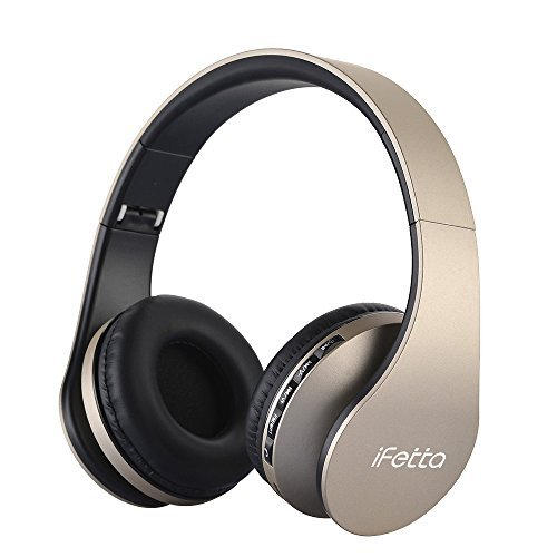 Fetta Wired On Ear Headphones with 3.5mm Audio Cable Wireless Stereo Bluetooth Headphones with Mic Protable Headsets Earphones for Smartphones,PC,Laptop,MP3 Player and More (Golden)