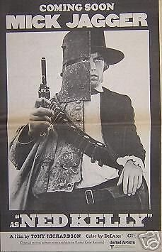 Mick Jagger Rolling Stones 70 Ned Kelly Movie Poster Ad from ConcertPosterArt