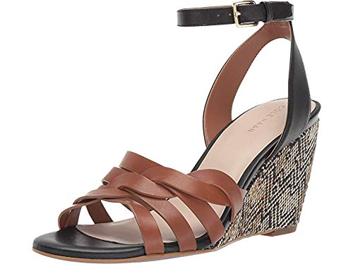 Cole Haan Women's 80 mm Myra Grand Braided Wedge Sandal British Tan/Black Leather 7.5 B US