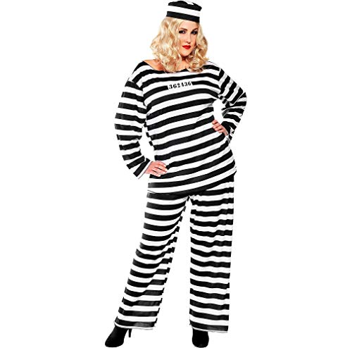 AMSCAN Lady Lawless Prisoner Halloween Costume for Women, Plus Size, with Included Accessories ()