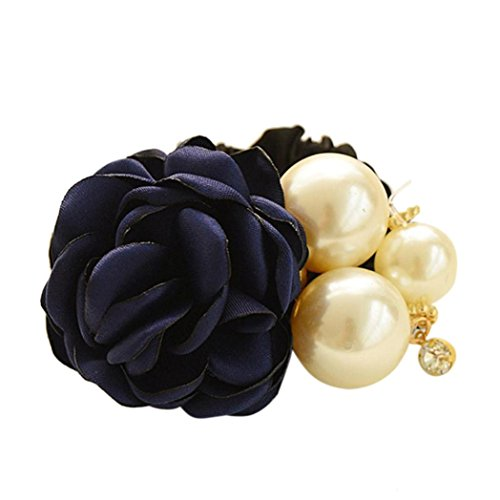 Make Satin Ribbon Roses - Women Satin Ribbon Rose Flower Pearls Hairband Ponytail Holder Hair Band (Blue)