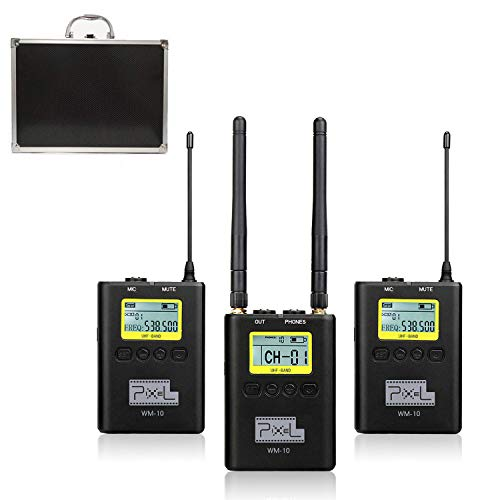 Pixel 100 Channels Metal Wireless Lavalier Microphone Lavalier Lapel Mics with Beltpack Clip Transmitter/Receiver for DSLR Cameras