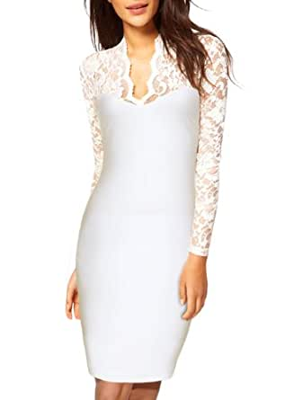 Miusol Women's Sexy Lace Dress V Neck Slim Cocktail Party Dresses,Ship From USA (Miusol X-Large/US Size 10, Long sleeve white)