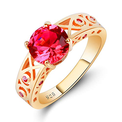 (PAKULA Yellow Gold Plated Women Simulated Pink Tourmaline Ring Size 9)