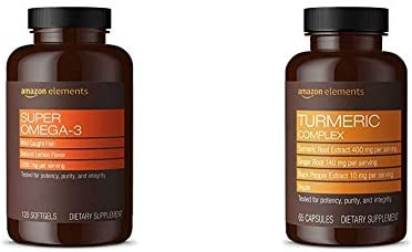 Amazon Elements Super Omega-3, Natural Lemon Flavor, 1280 mg per Serving 2 Softgels , 120 Softgels Turmeric Complex, 400mg Turmeric Curcumin, 140mg Ginger, 10mg Black Pepper, 65 Capsules