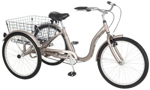 Schwinn Meridian Adult Tricycle, 26-Inch Wheels, Dark Silver