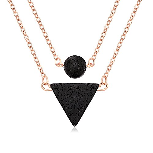 MANZHEN Lava-Rock Stone Pendant Essential Oil Diffuser Multilayer Necklace for Women (Rose Gold)