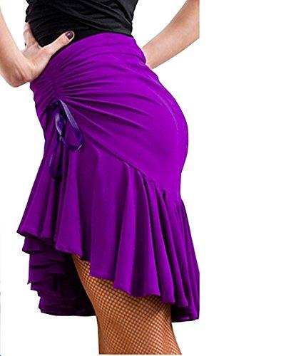 Reisam Lady's Training Latin Dance Dress Ballroon Tango Swing Rumba ChaCha Skirt Purple S (Dance Latin Skirt)