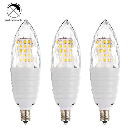 (Bogao (3 Pack) LED Candelabra Bulb, 12W Daylight White 6000K LED Candle Bulbs, 80-100 Watt Light Bulbs Equivalent, E12 Candelabra Base,1200 Lumens LED Lights,Torpedo Shape)
