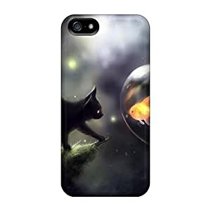 Luoxunmobile333 Cases Covers Protector Specially Made For Iphone 5/5s Space Cat Doubt
