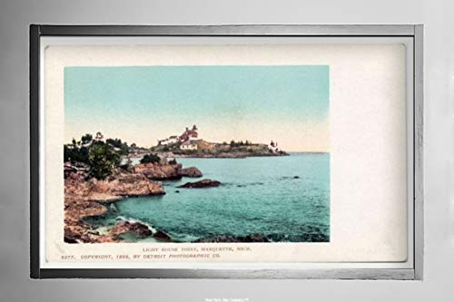 New York Map Company  Lighthouse Point, Marquette, Mich, 1902 Postcard Vintage Antique Fine Art Reproduction Photo |Size: 7x12|Ready to Frame