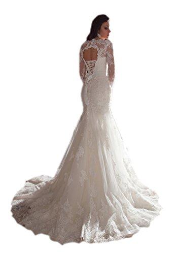 Engerla Mujeres Illusion mangas largas de encaje sirena vestido de novia con marco de cuentas Blanco