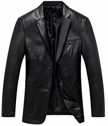 Coat Blazer Formal Faux Comfy UK Black Leather Button Two Jacket today Men zqH84w1
