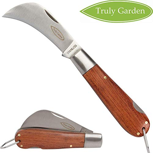 Truly Garden - Folding Garden Knife. This Hawkbill knife has a curved blade great for hundreds of uses. Not just a great gift for a gardener.