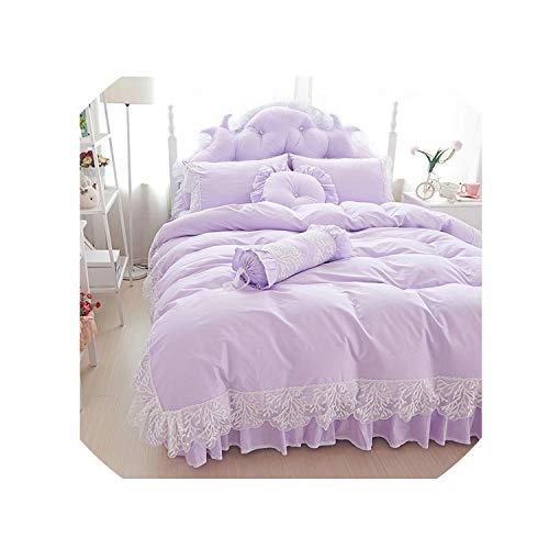 Wedding Lace Bedspread Princess Bedding Sets Queen King Size 4/6Pcs Girls Ruffles Duvet Cover Bed Skirt Bedclothes Cotton,Purple,King Size 8Pcs