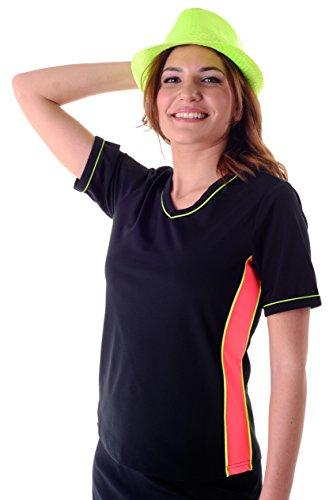 HydroChic Women's Modest Plus Size V-Neck Rash Guard, Short Sleeve Chlorine Proof Swim Shirt Black/Bright Coral/Radiant Yellow, 2X (Chlorine Proof Swim Top)