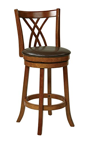 OSP Designs Office Star Metro Faux Leather Seat and Back Round Swivel Barstool with Footrest and Walnut Finish Wood Frame, 30-inch, (Metro Round Bar Stool)