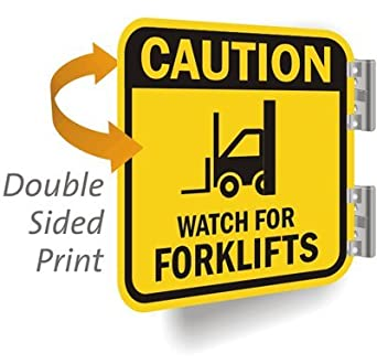 """Caution: Watch For Forklifts (with, Heavy Duty Double-Sided Aluminum Sign, 80 mil, 12"""" x 12"""""""