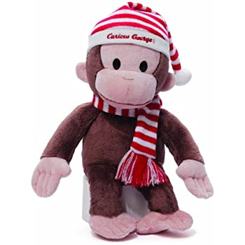 """Gund Curious George Plush in Christmas Red and White Striped Hat, 14"""" Tall"""