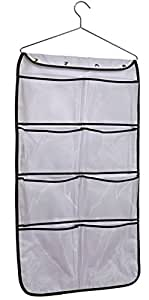 Misslo Durable Hanging Closet Double Sided Bra Stocking Clothes Socks Organizer with 15 Large Mesh Pockets, White
