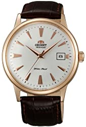 Orient ER24002W Men's Bambino Automatic White Dial Rose Gold Tone Leather Strap Mechanical Watch