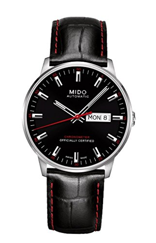 Mido Commander II Automatic Black Dial Black Leather Mens Watch M0214311605100