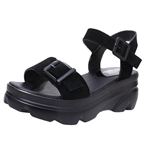 Culater® Sandalias Mujer, Plataforma Zapatillas de polipiel Senderismo Negro