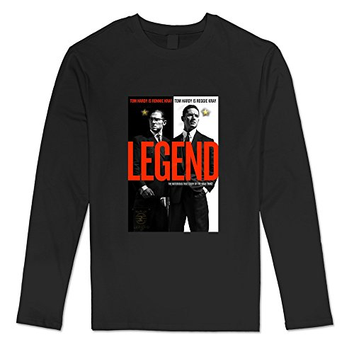 Men's Legend Movie Tom Hardy Cruise Long Sleeve Tshirt Size XXL Black