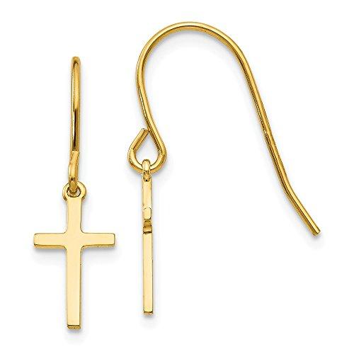 Real 14kt Yellow Gold Dangle Cross Shepherd Hook Earrings (Cross Hook Earrings French)