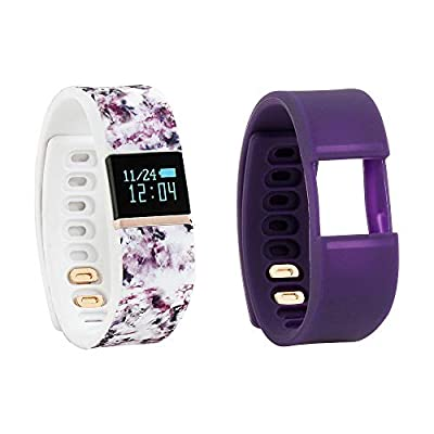 iFitness WM2886RG752-WPU Activity Tracker Wrist Watch Rose Gold Case, White Print and Black Berry Cordial Silicone Rubber Straps