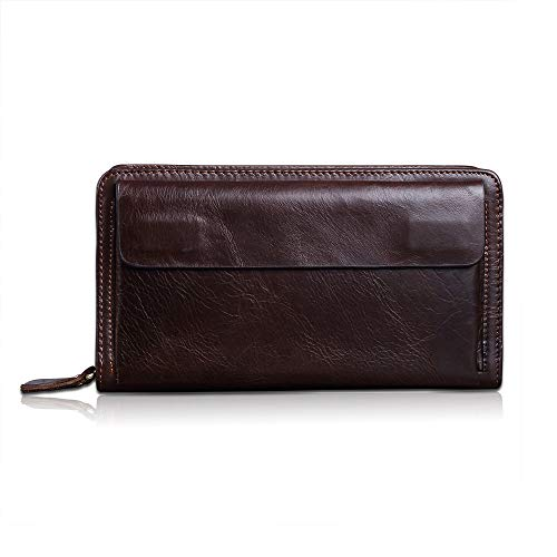 RTYou Men 's Hand Bag Genuine Leather Big Wallet Mens Large Capacity Long Cutch Handbag Double Zipper Casual with Wrist Band Business Folder【Ship from USA 】