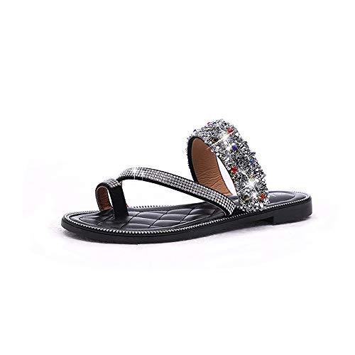 Pantoufles Tongs Plates Taille Chaussures des Sequins Bow Two Porter Summer Occasionnels Noir Noir Plage EU Couleur et Sandales Sauvage de Yiwuhu des 40 wfqI7n