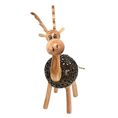 AeraVida Happy Moose Reindeer Hand Carved Coconut Shell Figurine Sculpture